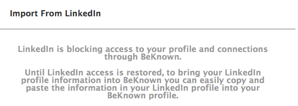 BeKnown blocked from accessing LinkedIn's API