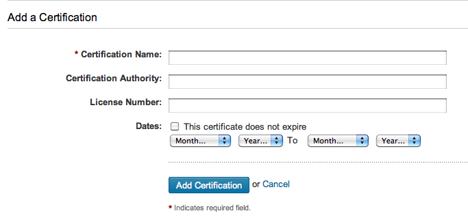 Add a Certification field in LinkedIn