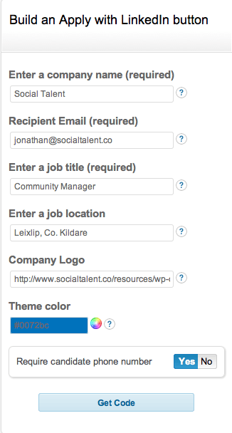 Apply with LinkedIn Customisable Button Form
