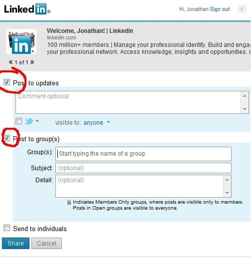 Share to Groups on LinkedIn using Toolbar