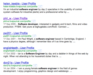 LiveJournal Boolean Search String for Software Developers