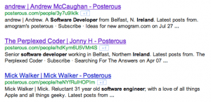 Posterous Boolean Search String for Software Developers