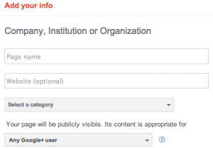 Add your Company Information - Google+ Pages