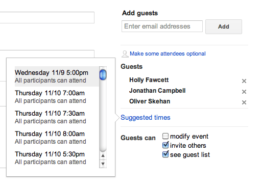 Suggested Times in Google Calendar
