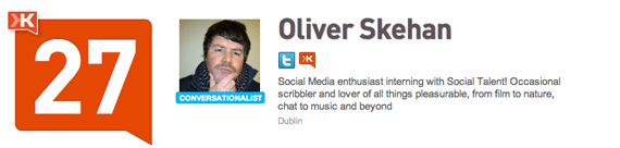 Oliver Skehan on Klout - a relative newbie