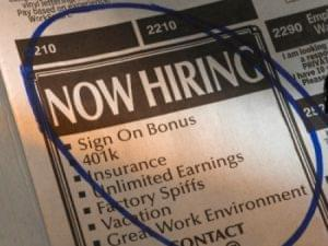Now Hiring newspaper image
