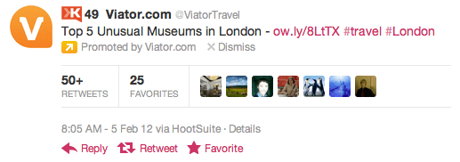 Promoted Tweets - As demonstrated by Viator Travel on Twitter