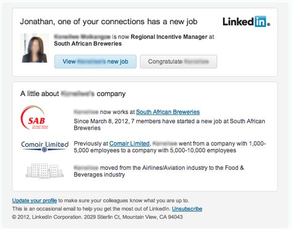 LinkedIn Connection New Job Updates
