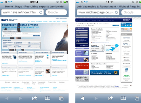 Hays.ie and MichaelPage.co.uk websites on Mobile Devices