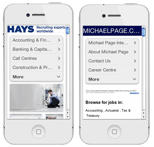 Hays.co.uk and MichaelPage.co.uk in the Mobile Website Preview BMobilized