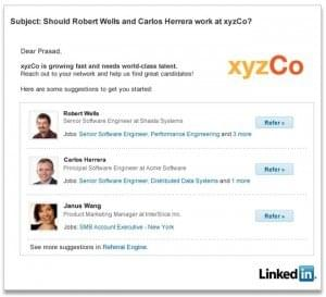 LinkedIn Social referral engine