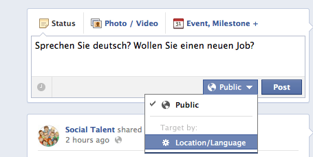 Segmenting Posts by Location and Language on Facebook