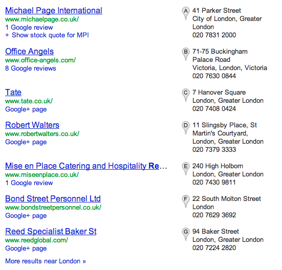 Google search results - Local listings with address and contact details, plus Google+ page