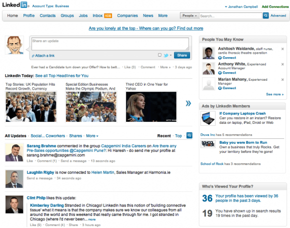 The Old LinkedIn Homepage Layout