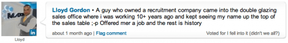 Lloyd Gordon's response to the poll on LinkedIn