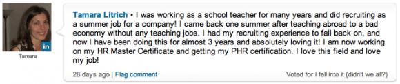 Tamara Litrich's response to the poll on LinkedIn