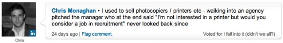Chris Monaghan's response to the poll on LinkedIn