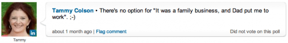 Tammy Colson response to the Poll on LinkedIn