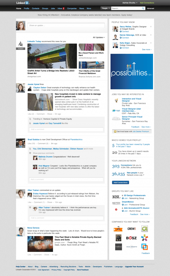 The New LinkedIn Homepage, July 2012