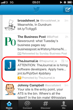 Promoted Tweet - The Journal are Hiring