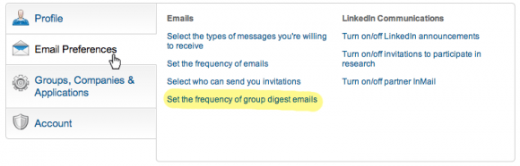 LinkedIn Settings - Frequency of Group Digest Emails