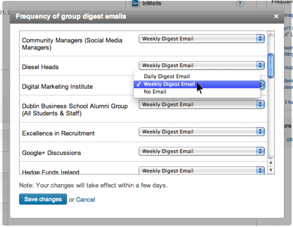 LinkedIn Settings - Frequency of Group Digest Emails List