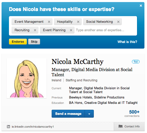 LinkedIn Skill Referrals Asking JC to Endorse Nicola