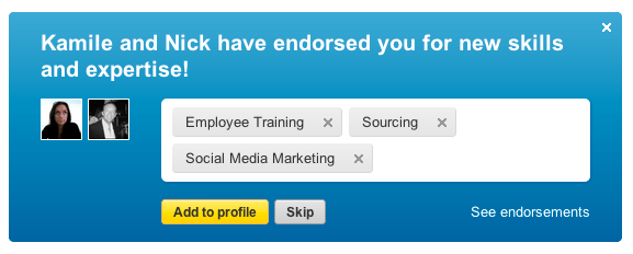 "LinkedIn Skill Referrals JC has been Endorsed ""Employee Training"""
