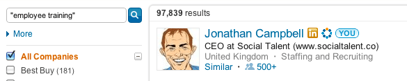 LinkedIn Skill Referrals Search result for Skill JC was endorsed for