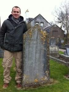 Me (Vincent) at George Boole's grave in Cork. Photo credit: Harry O'Donoghue, age 5