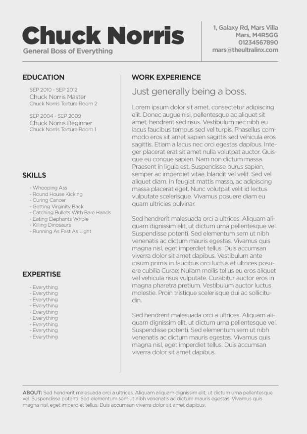 Captivating Chuck Norris CV In Cvs Resume Paper