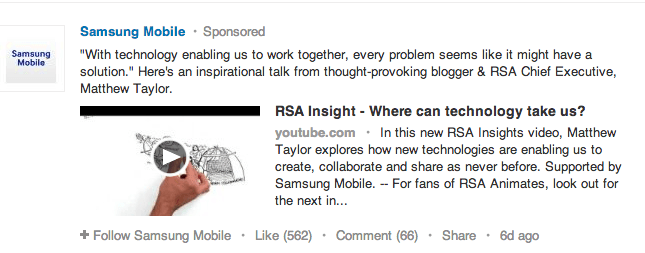 LinkedIn Sponsored Company Posts in Newsfeed