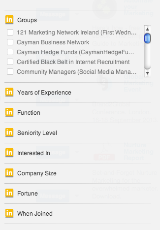 LinkedIn Advanced Search Right Column