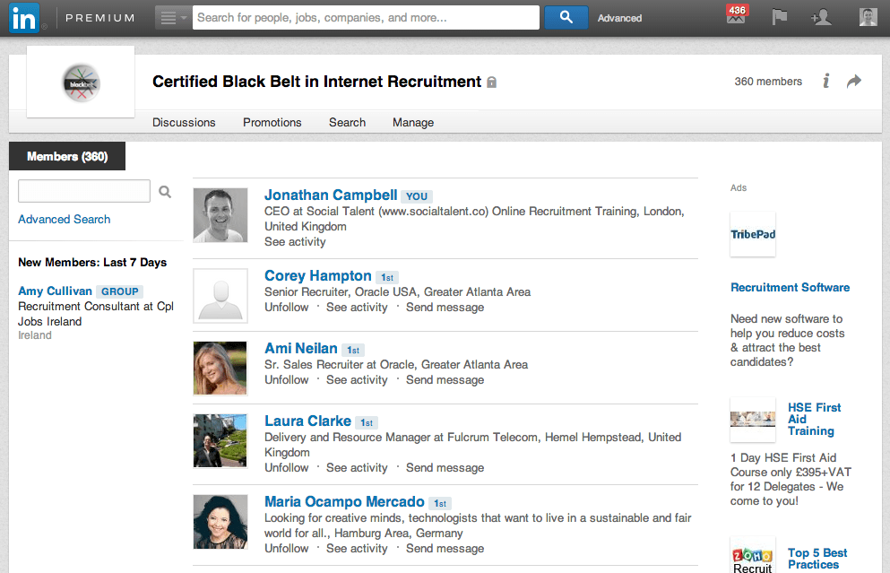 LinkedIn Group Page Connections