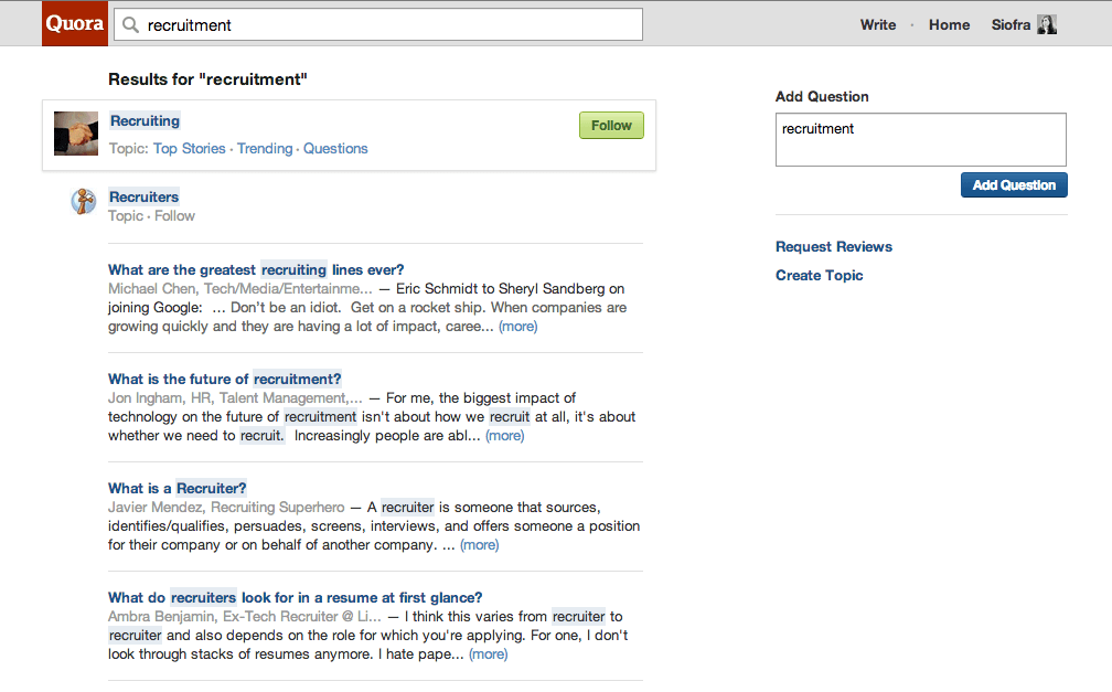 Quora Questions Page | Social Talent