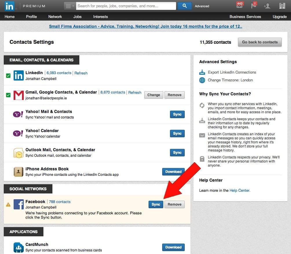 Sync Facebook Contacts | Sync Twitter & Facebook Contacts on LinkedIn