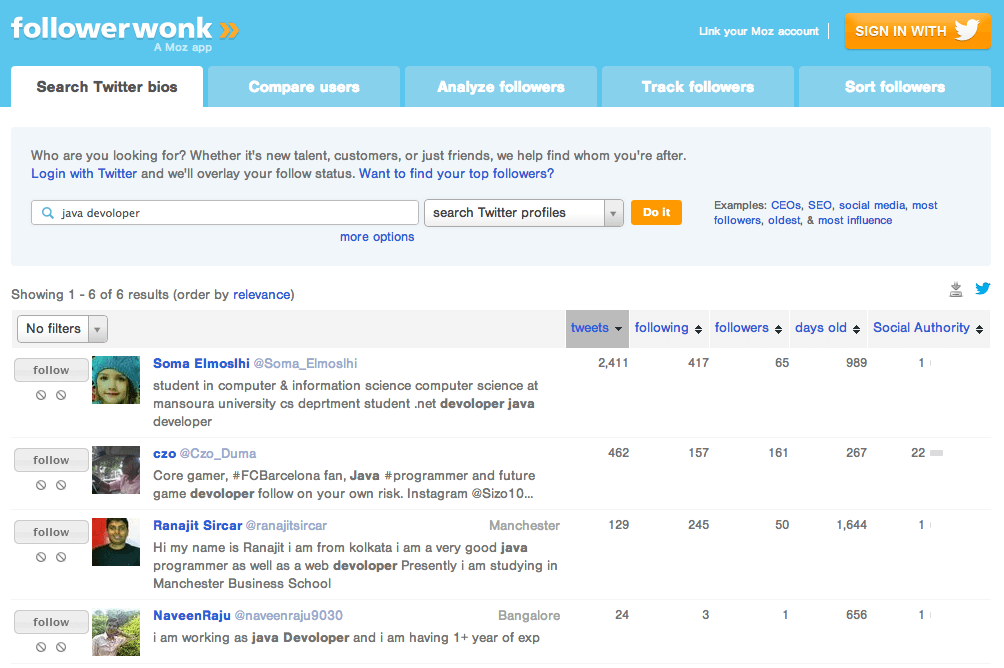 Search Twitter Bios on Followerwonk | Recruiting on Twitter