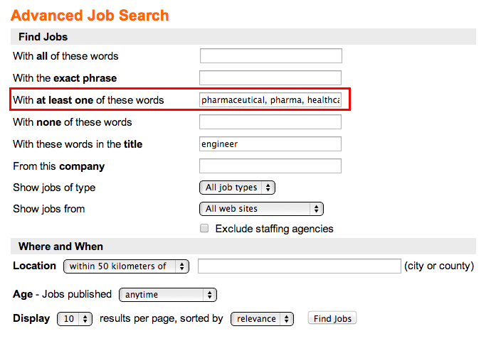job keywords