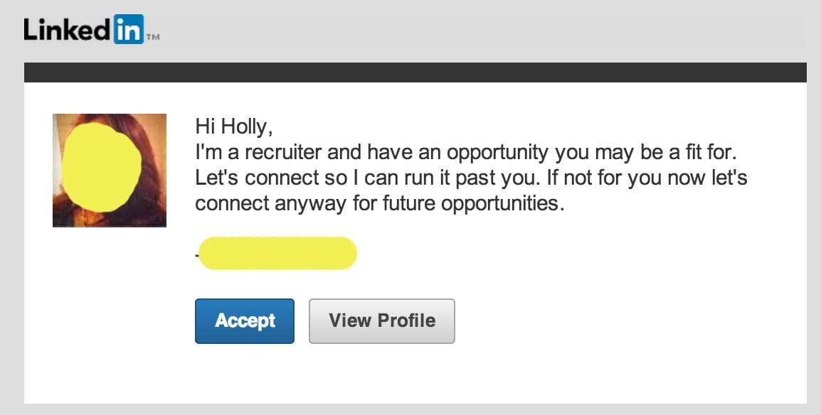 LinkedIn Connection request email message