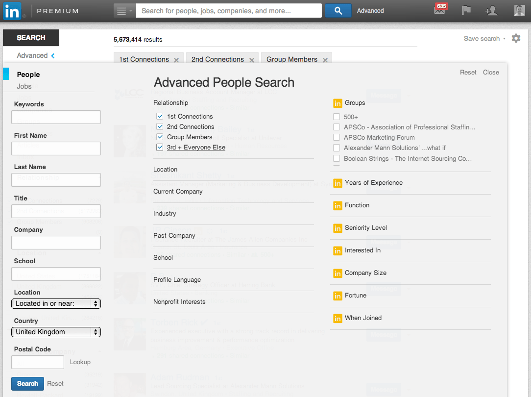 LinkedIn Advanced Search | Linkedin Account