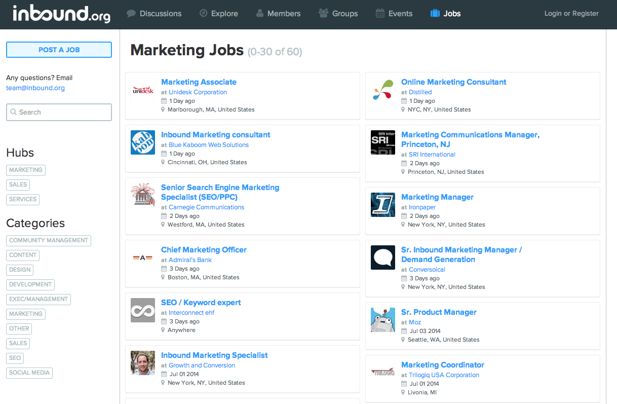 Marketing jobs on Inbound.org