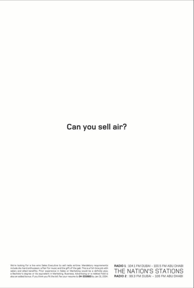 Can You Sell Air Creative Job Ad