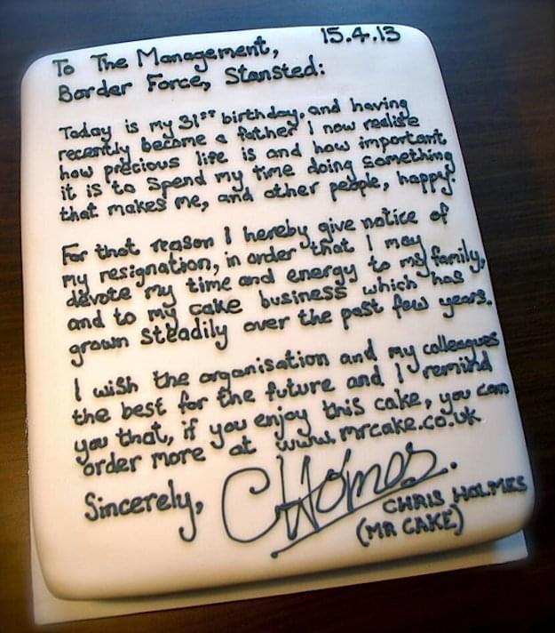 Chris Holmes Resignation cake
