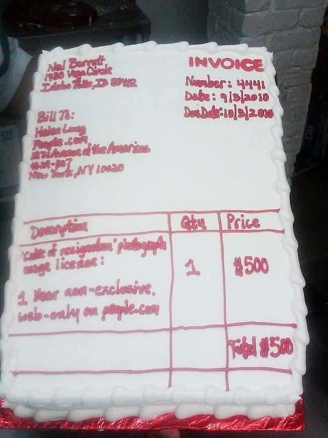 Invoice cake