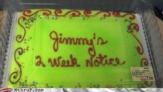 Jimmys Resignation cake