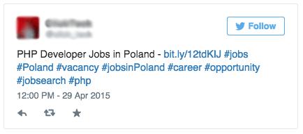 Too many hashtags - Job Tweet