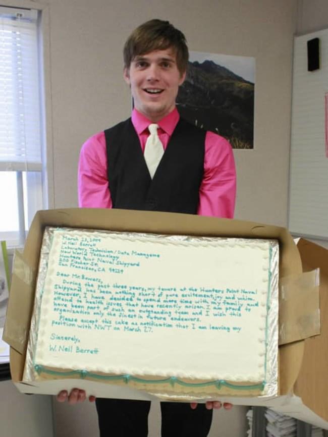 W. Neil Berrett's Resignation Cake