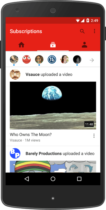 Subscriptions YouTube App