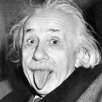 Albert Einstein with tongue out
