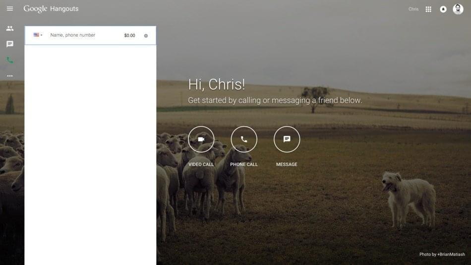 Google Hangouts Homepage